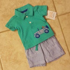 Carters Newborn Polo Shirt/Shirt Set